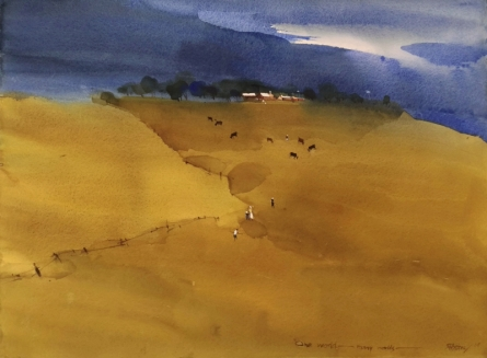 Landscape Watercolor Art Painting title 'Minimalists Indian Summer' by artist Prashant Prabhu