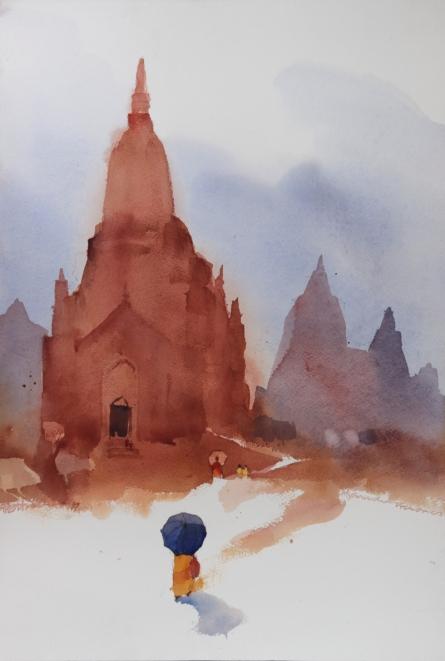 Landscape Watercolor Art Painting title 'Mynamaar Memories 10' by artist Prashant Prabhu