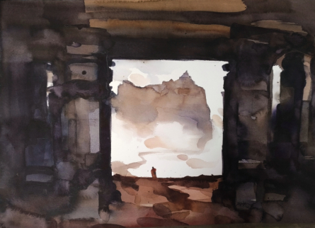 Landscape Watercolor Art Painting title 'Portal To The Mystical' by artist Prashant Prabhu