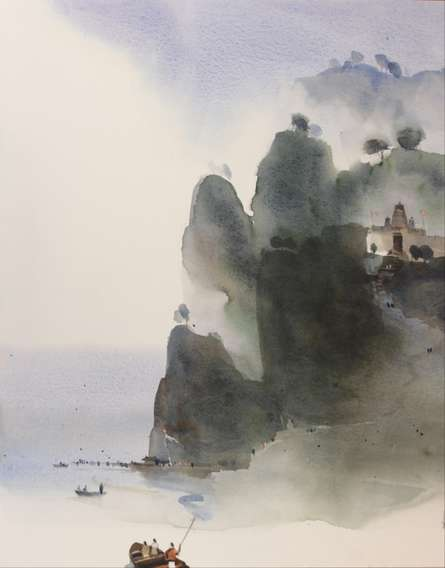 Landscape Watercolor Art Painting title Sail Into The Mythical Realm 4 20x16 by artist Prashant Prabhu
