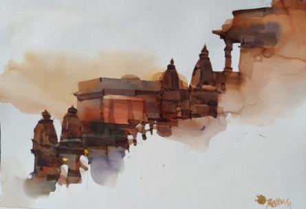 Prashant Prabhu | Watercolor Painting title Step In Time In Belur 1 on Paper | Artist Prashant Prabhu Gallery | ArtZolo.com