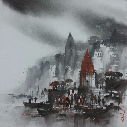 Cityscape Acrylic Art Painting title 'Banaras Ghat 1' by artist Ashif Hossain
