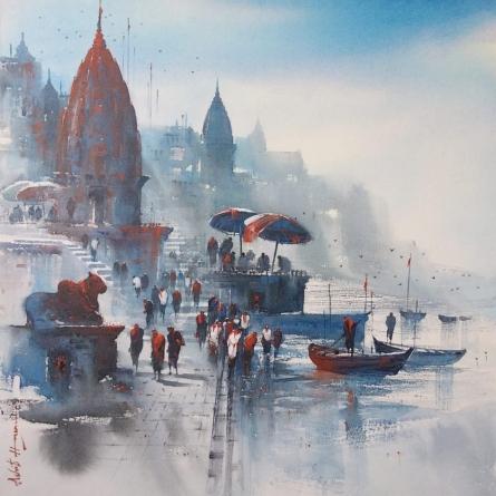 Cityscape Acrylic Art Painting title 'Banaras Ghat 45' by artist Ashif Hossain
