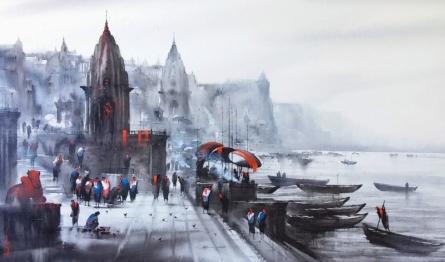 Cityscape Acrylic Art Painting title 'Banaras Ghat 46' by artist Ashif Hossain
