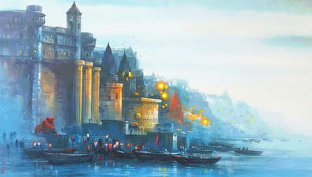 Cityscape Acrylic Art Painting title 'Banaras Ghat 47' by artist Ashif Hossain