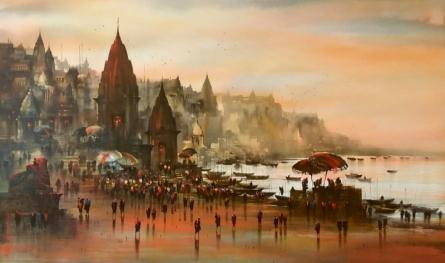 Cityscape Acrylic Art Painting title 'Banaras Ghat 48' by artist Ashif Hossain
