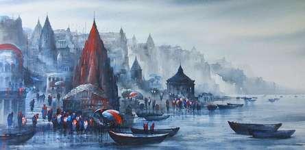Cityscape Acrylic Art Painting title 'Banaras Ghat 51' by artist Ashif Hossain