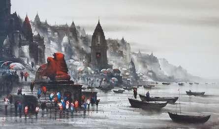 Cityscape Acrylic Art Painting title 'Banaras Ghat 52' by artist Ashif Hossain
