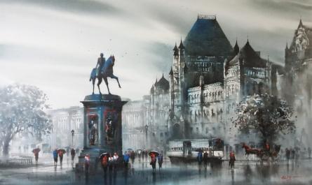 Cityscape Acrylic Art Painting title 'Bombay Fort (Kala Ghoda)' by artist Ashif Hossain