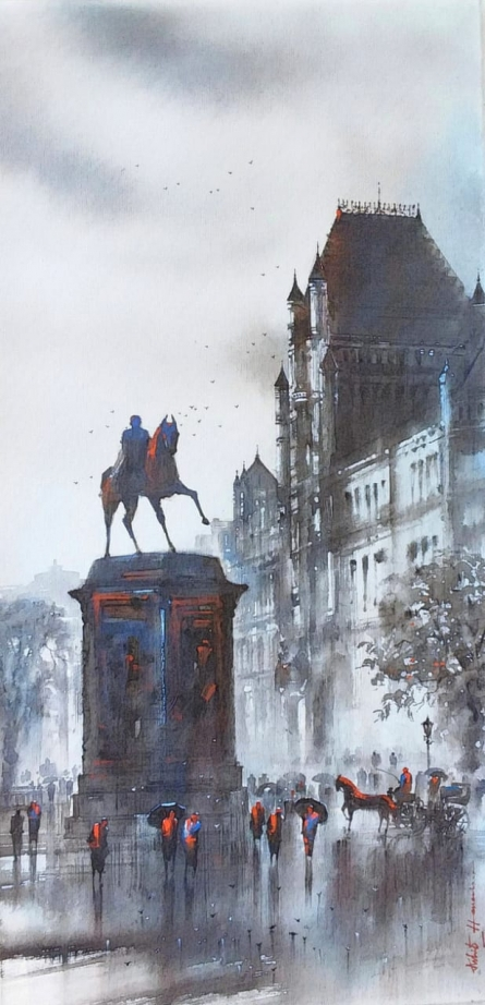 Cityscape Acrylic Art Painting title 'Old Bombay Kalaghoda 2' by artist Ashif Hossain