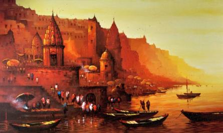 Cityscape Acrylic Art Painting title 'Banaras Ghat 8' by artist Ashif Hossain