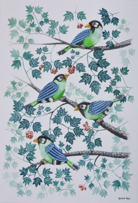 Animals Postercolor Art Painting title 'Birds Painting 48' by artist Santosh Patil