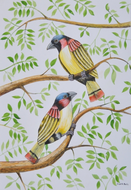 Birds 2 | Painting by artist Santosh Patil | postercolor | Paper