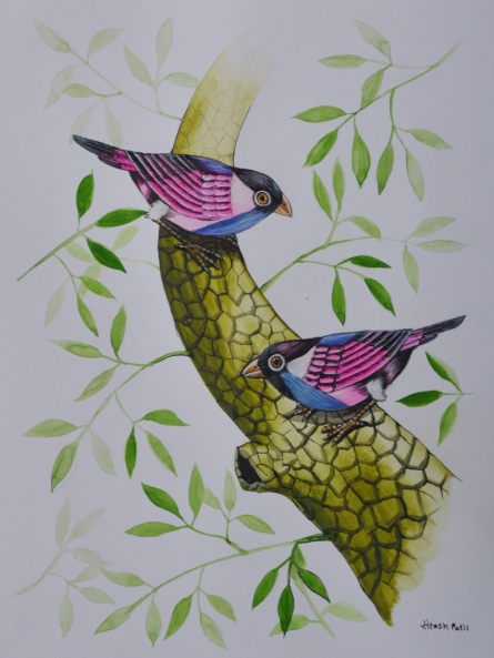 Animals Postercolor Art Painting title 'Birds painting 58' by artist Santosh Patil