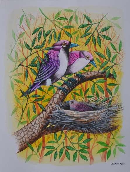 Animals Postercolor Art Painting title 'Birds painting 59' by artist Santosh Patil
