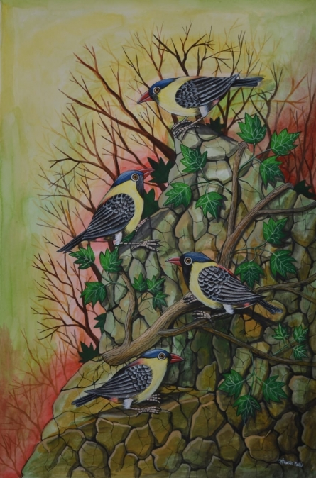 Animals Postercolor Art Painting title 'Birds 72' by artist Santosh Patil