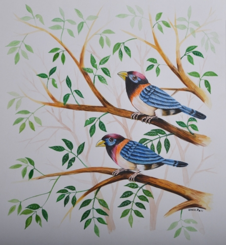 Animals Watercolor Art Painting title 'Birds Painting 27' by artist Santosh Patil