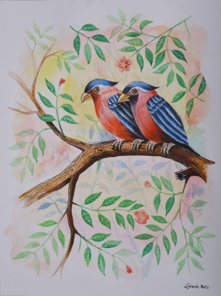 Animals Watercolor Art Painting title 'Birds Painting 19' by artist Santosh Patil
