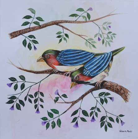 Animals Postercolor Art Painting title 'Birds Painting 23' by artist Santosh Patil