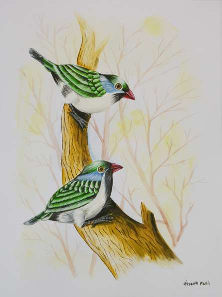 Animals Postercolor Art Painting title 'Birds Painting 26' by artist -