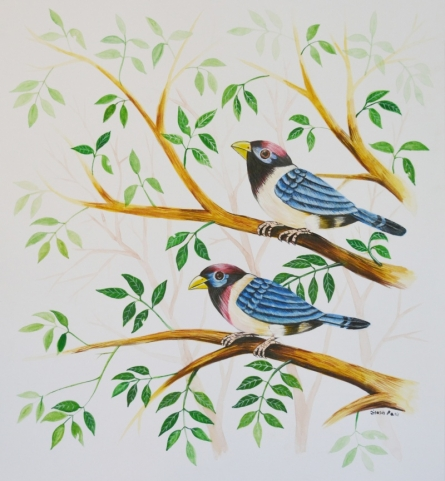 - Paintings | Postercolor Painting - Birds Painting 27 by artist - | ArtZolo.com