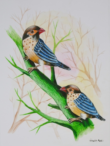 Animals Postercolor Art Painting title 'Birds Painting 24' by artist -