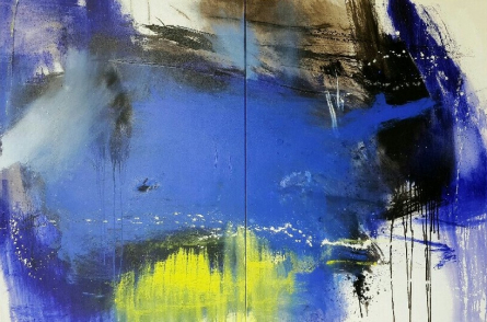 Abstract Acrylic Art Painting title Space 42 by artist Gulrez Ali