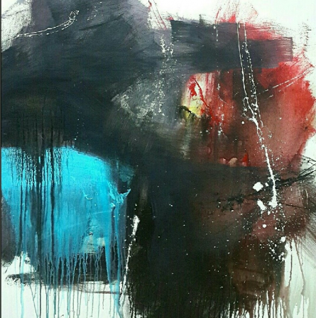 Abstract Acrylic Art Painting title 'Space 55' by artist Gulrez Ali