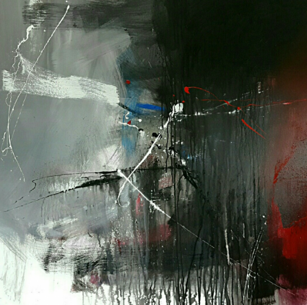 Abstract Acrylic Art Painting title Space 71 by artist Gulrez Ali