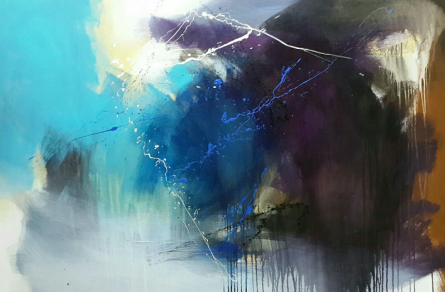 Abstract Acrylic Art Painting title 'Space 89' by artist Gulrez Ali