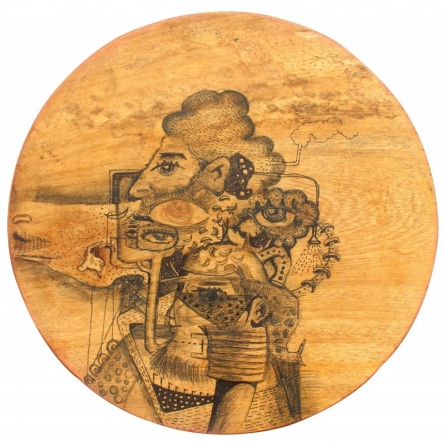 Pen-ink Paintings | Drawing title Untitled 5 on Wood | Artist Gopal Shinde