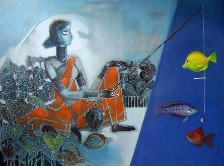 Figurative Acrylic Art Painting title 'Syncretize 3' by artist Abhipsa Pradhan