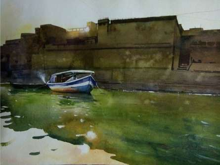 Banaras 2 | Painting by artist Ajay Sangve | watercolor | paper