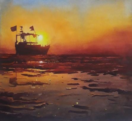 Cityscape Watercolor Art Painting title 'Banaras 1' by artist Ajay Sangve