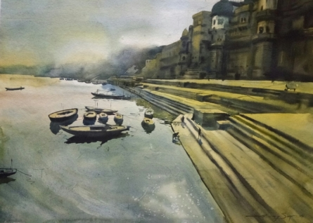 Banaras 3 | Painting by artist Ajay Sangve | watercolor | paper