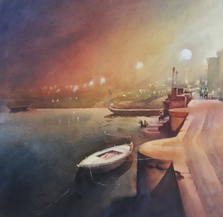 Ajay Sangve | Watercolor Painting title Banaras 4 on paper | Artist Ajay Sangve Gallery | ArtZolo.com