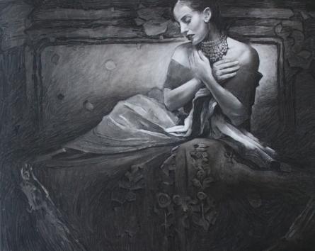 Figurative Charcoal Art Painting title 'Royal Era 3' by artist Ajay Sangve