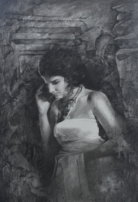 Figurative Charcoal Art Painting title 'Royal Era' by artist Ajay Sangve