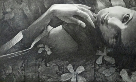 Figurative Charcoal Art Painting title 'Girl' by artist Ajay Sangve