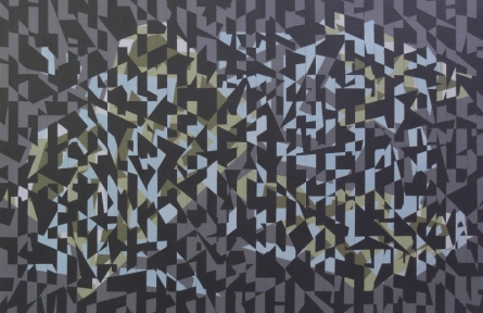 Abstract Acrylic Art Painting title 'Triangle 7' by artist Nilesh Shaharkar