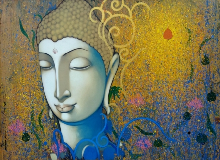 Religious Acrylic Art Painting title Buddha by artist Anand Panchal