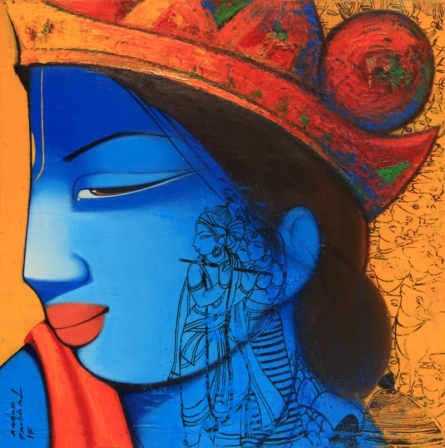 Religious Acrylic Art Painting title 'Lord Krishna And Radha' by artist Anand Panchal