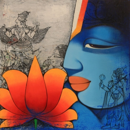 Anand Panchal | Acrylic Painting title Lord Ram on Canvas | Artist Anand Panchal Gallery | ArtZolo.com