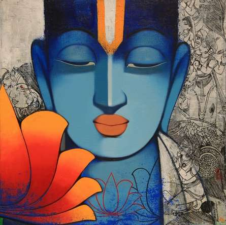 Religious Acrylic Art Painting title 'Spiritual' by artist Anand Panchal