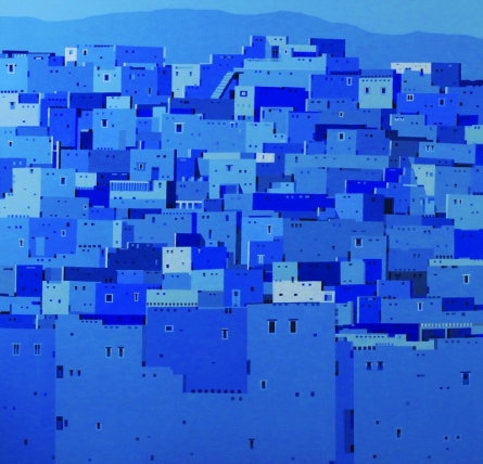 Cityscape Acrylic Art Painting title 'Untitled 11' by artist Madan Pawar