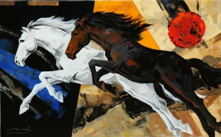 Animals Acrylic Art Painting title 'Horse 120' by artist Devidas Dharmadhikari