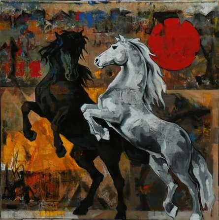 Devidas Dharmadhikari | Acrylic Painting title Horse 123 48x48 on Canvas | Artist Devidas Dharmadhikari Gallery | ArtZolo.com