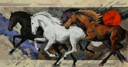 Animals Acrylic Art Painting title 'Horse 125 96x48' by artist Devidas Dharmadhikari