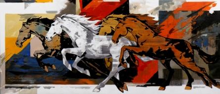 Animals Acrylic Art Painting title '151-84x36' by artist Devidas Dharmadhikari