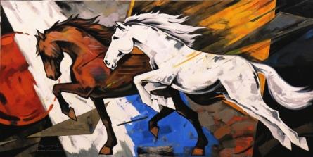 Animals Acrylic Art Painting title HORSE SERIES -158 by artist Devidas Dharmadhikari